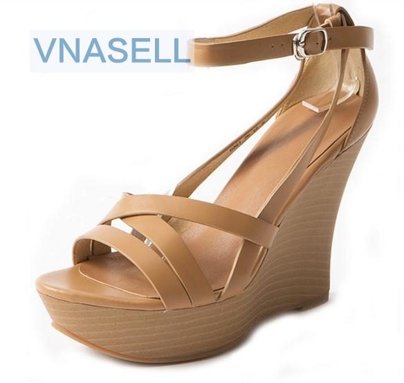 Vnasell Hot Sale Small Size 33 34 39 Women Genuine Leather Pumps Girl New Trend Wedges Thick Bottom Thin High Heel Sandals Sexy kiind of new white women s size small s sheer textured sleeveless blouse $39