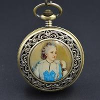 La Princesa plan Tono de bronce del reloj mecánico reloj de bolsillo hombre colgante llavero reloj Steampunk maquinaria H274 regalo encanto