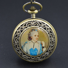 The princess plan Bronze Tone CLOCK Mechanical Pocket Watch Man Pendant Watch key Chain Steampunk Machinery H274 gift charm