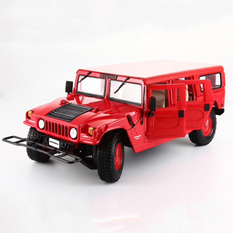 Popular Alloy Diecast Car Model 1/18 Scale Hummer H1  Red And Black Off-Road King Car Model Christmas   Gifts Collections 1 18 scale red jeep wrangler willys alloy diecast model car off road vehicle model toys for children gifts collections