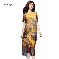 Spring Women Ethnic Style Print Dress Fashion Elegant Vintage Loose Medium Long Design Dress Women