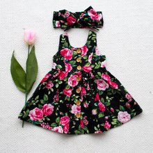 Summer Baby Girls Dresses Toddler Kids Sleeveless Floral Dresses Costumes With Button Fashion Princess Dress Matched Headband цена 2017