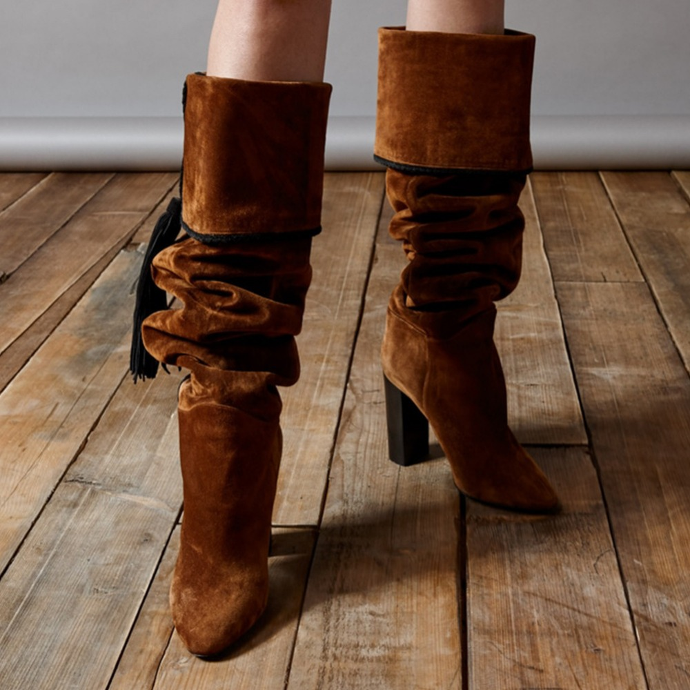 newest shoes women winter boots pointed toe mixed colors high heels over the knee boots brown fringe fashion knee high boots brown knee high boots for women flat heels round toe turn over boot opening women dress boots fashion shoes luxury women