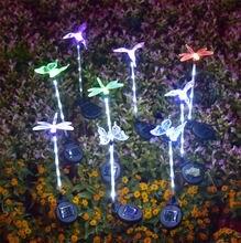 Светильник на солнечной батарее 3 вида бабочка/Стрекоза/птица
