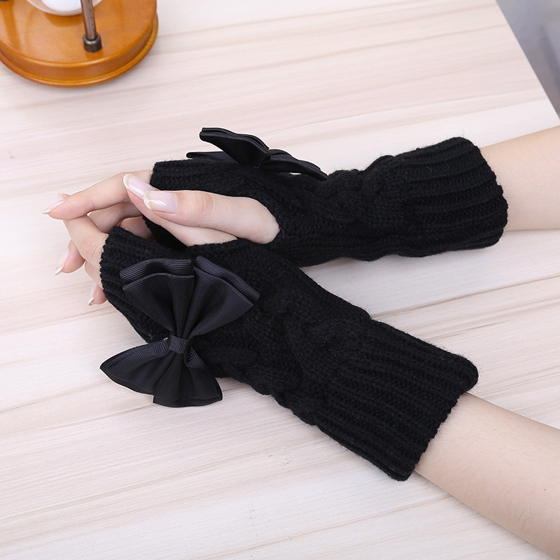 Brand New Bowknot Women's Gloves Wrist Arm Warmer Winter Spring Fingerless Knit Mitten