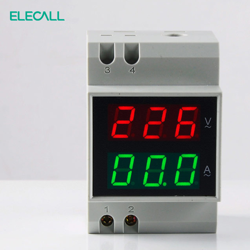 ELECALL <font><b>D52</b></font>-<font><b>2042</b></font> Double Display DIN RAIL Red Green AC80-300V AC0.1-99.9A Digital AC Voltmeter Alternationg Voltage Current Meter image