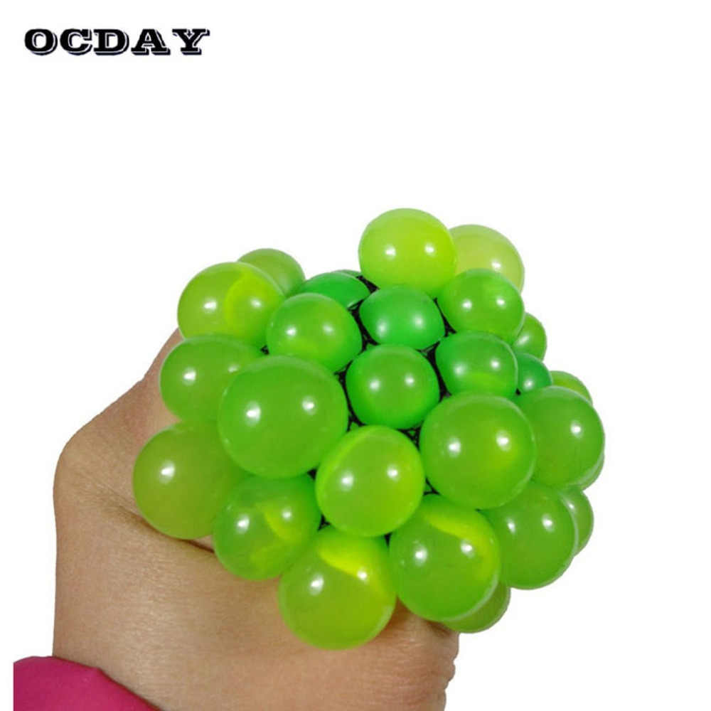 Hot! OCDAY 1 pc Anti Stress Gezicht Reliever Druif Bal Zachte Autisme Stemming Squeeze Bal Kawaii Squishy Grappige Relief Gezonde Speelgoed gift