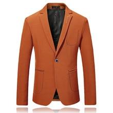 Лучший!  Оранжевый повседневный стиль мужской пиджак для выпускного вечера с надписью зубчатый отворот одна