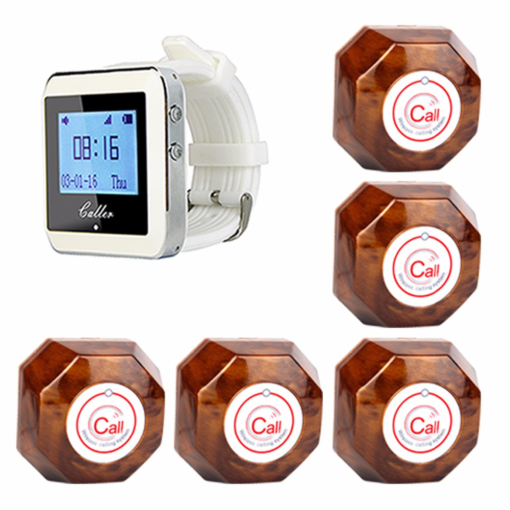 Hotel Wireless Call Pagers Waiter Calling Paging System Guest For Restaurant Coffee Shop With One-Key Transmitter Button F3288B wireless waiter bell system good price of restaurant call waiter service for guest 433 92mhz 1 watch 6 call button