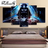 FULLCANG Full Diamond Painting 5 Pcs Diamond Embroidery Star Wars Square Mosaic Embroidery With Diamonds Home