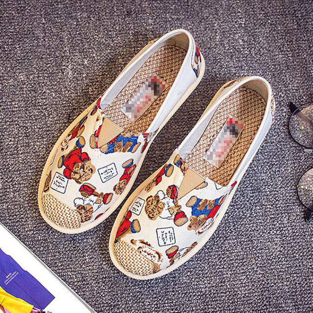 Mixed Colors Spring Summer Loafers Women Slip On Flat With Casual Canvas Shoes 2019 Designers Lazy Flats Shoes Woman Pregnant