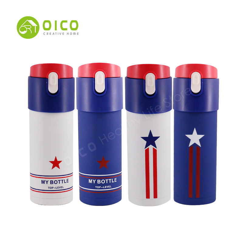 OICO 320ML Insulation Cup Stainless Steel Warm Water Bottle Tourism Heat Preservation Pot Outdoor American Flag Tea Mug Bottle