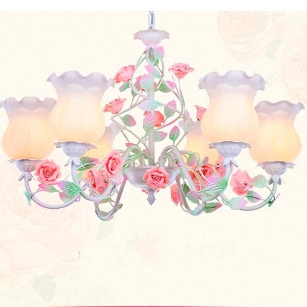 L'europe de style Américain de fer rose pendentif lumière en céramique fleur abat-jour en verre pour salle à manger de chambre enfants chambre lampe
