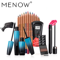 MENOW Marque Make up set Curling Épaisse Mascara kit & 12 Couleur ombre à paupières & Rose Blanchiment BB crème et mat lipgross & 2 Couleur Sourcils 5438