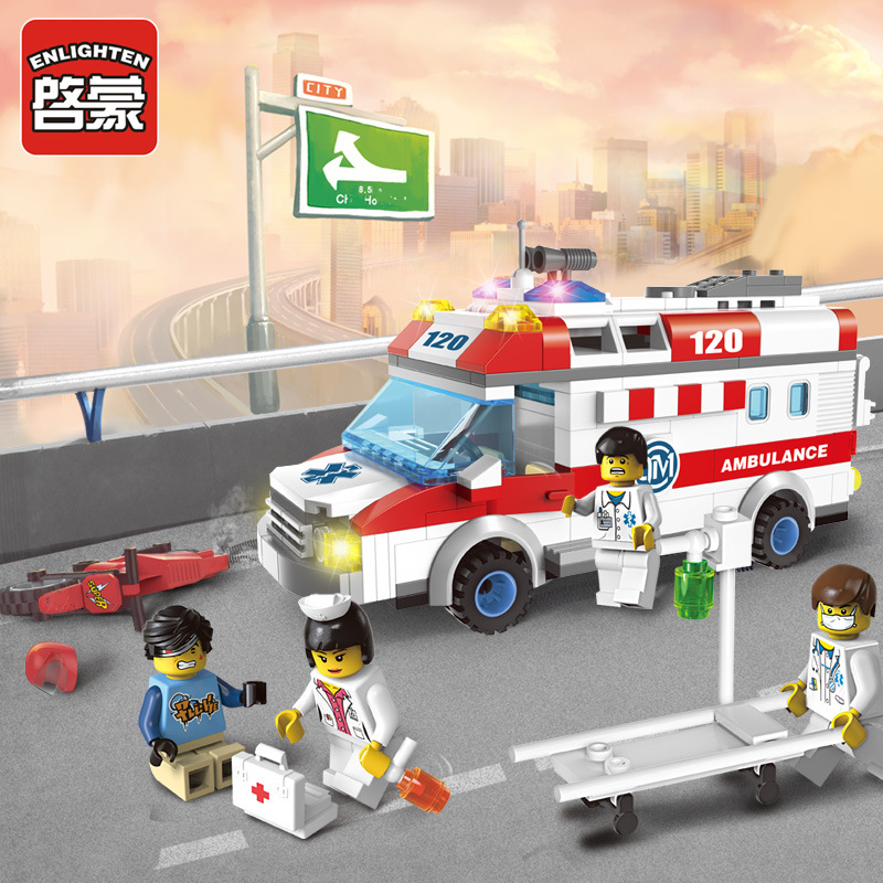 ENLIGHTEN City Series Emergency Ambulance Building Blocks Sets Bricks Model Kids Toys Compatible Lepine MOC Brick block toy gift a toy a dream lepin 24027 city series 3 in 1 building series american style house villa building blocks 4956 brick toys