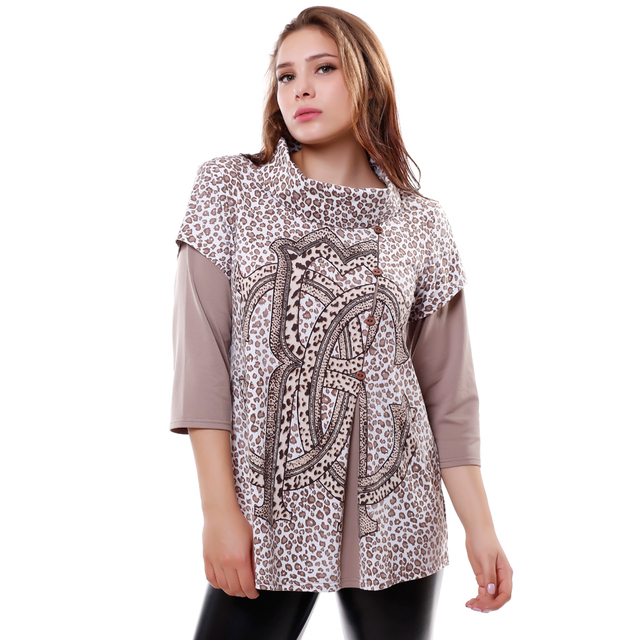 BFDADI 2016 T Shirts Women Autumn T-shirt Female High-necked Stitching Tees Leopard letter Print tops Plus size 7-6246