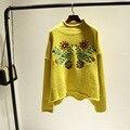 Buena calidad perfecta versión de auténtico bordado flores Coreano sola fan art RETRO suéter flojo suéter femenino