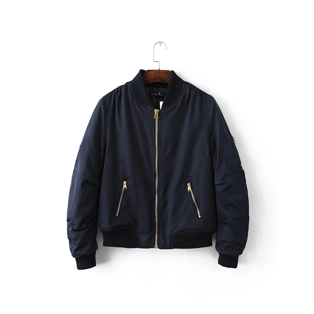 2018 Womens Army Green Bomber Jacket Casual Windbreaker Tops Jacket Thin Coat Cool Basic Slim Zipper Chaquetas Long Sleeve