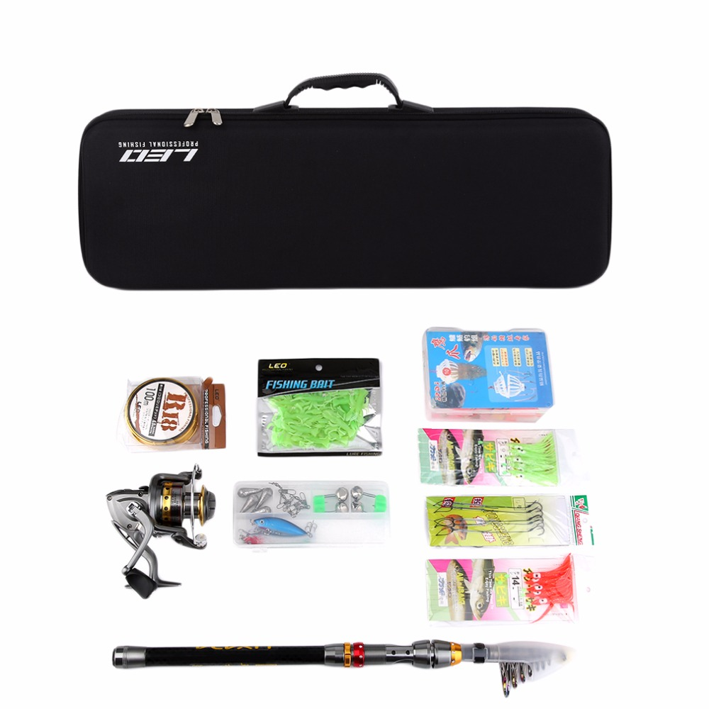 LEO Telescopic Fishing Rod Reel Combo Full Kit Spinning Reel Pole Set with Fish Line Lures Hooks Bag Case fishing tackle sougayilang 1 8 3 0m telescopic fishing rod set and 14bb metal spool spinning reel spinning fishing rod reel combo cana de pesca