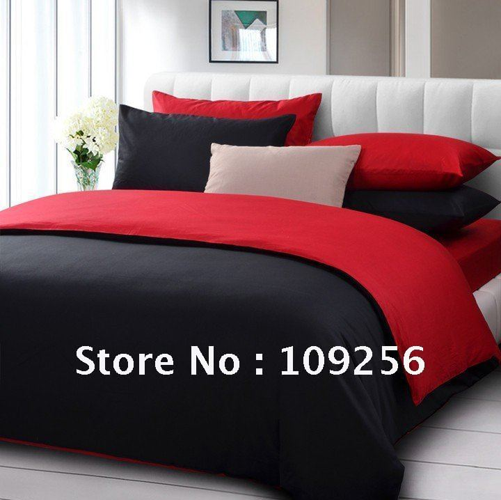 Free Ship 100 Sateen Cotton Red Black Color Luxury