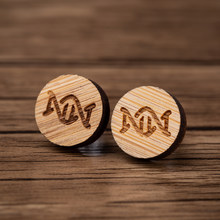 Oly2u Wooden Round DNA Earrings Women Double Helix Studs Earring Female Ear Jewelry Cute Lovely Earrings pendientes(China)