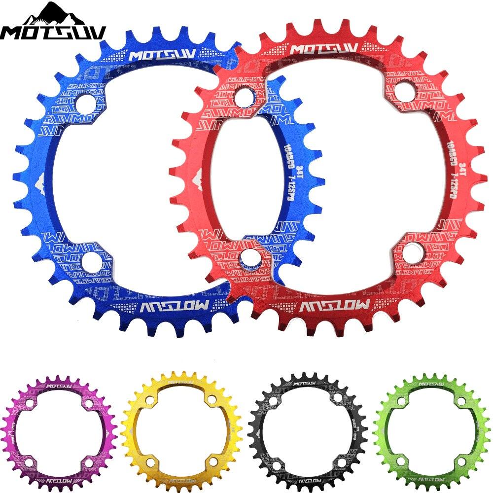 Bicicleta manivela 104BCD forma redonda estrecho ancho 32 t/34 t/T 36 t/38 T MTB cadena anillo bicicleta motorueda bicicleta círculo cigüeñal placa única