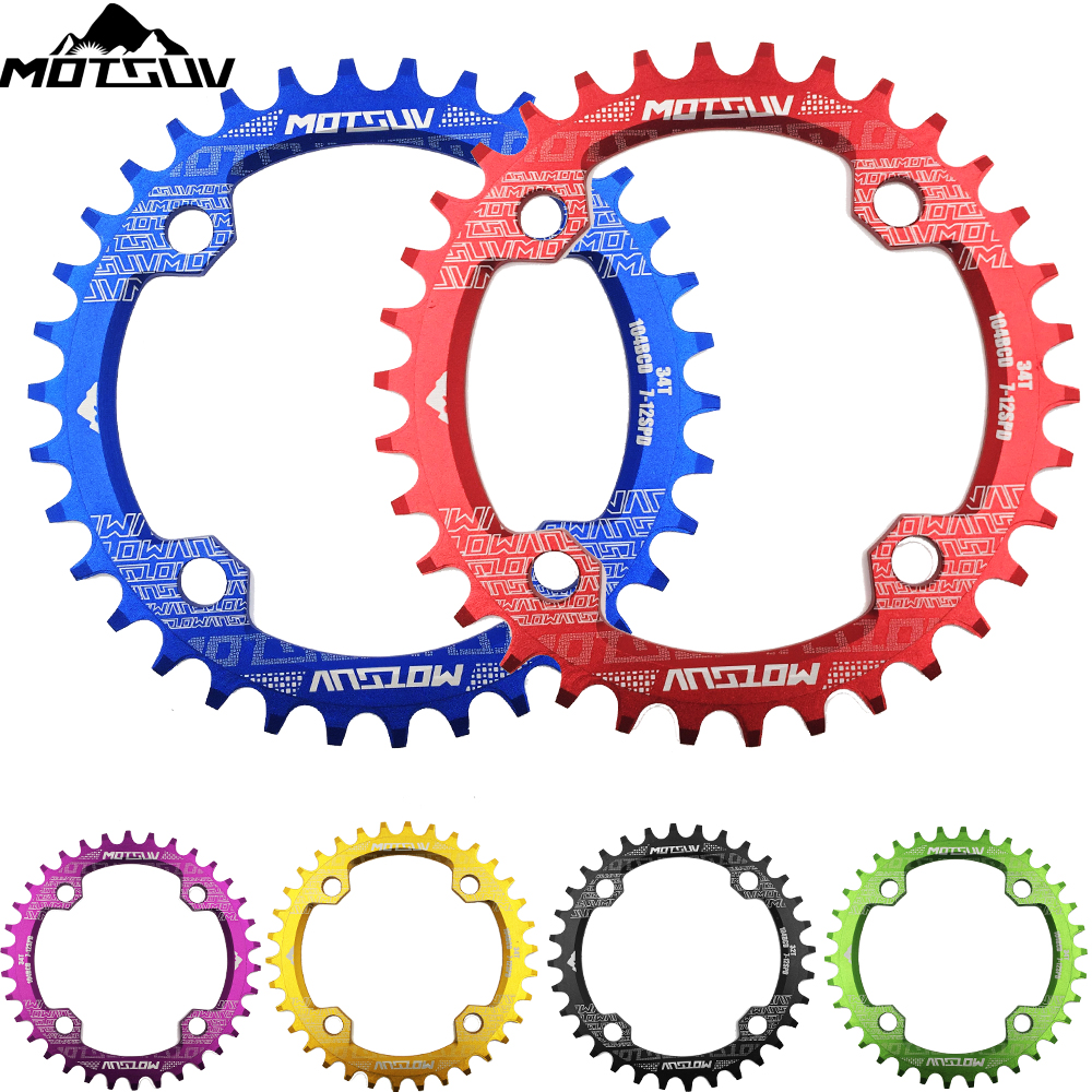 Bicycle Crank 104BCD Rund Form Smal Bred 32T / 34T / 36T / 38T MTB Kæde Ring Cykel Kædehjul Cykel Circle Crankset Single Plate