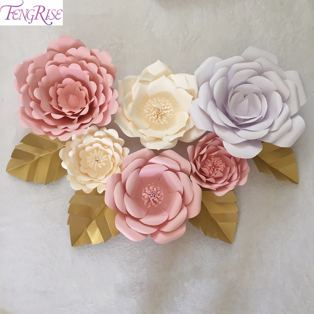Popular paper flower wedding backdrops buy cheap paper flower fengrise 2pcs 20cm artificial paper flowers diy wedding backdrop wall decor wedding event party decoration home dhlflorist Choice Image
