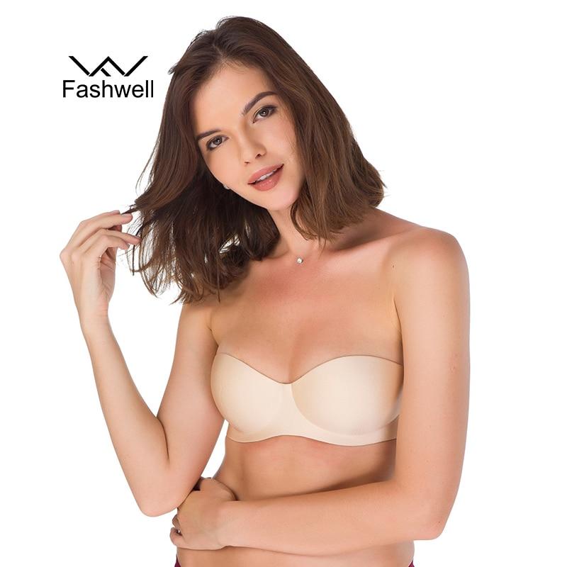 Sexy Women Strapless Invisible Bra Push Up High Quality Underwire 1 2 Cup Seamless Bra Underwear