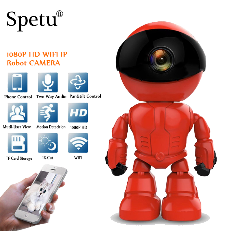 Spetu 2MP HD Wireless IP Camera WI-FI Robot Camera 1080P Wifi Night Vision Camera IP Network Camera CCTV Two-Way Audio Security robot camera wifi 960p 1 3mp hd wireless ip camera ptz two way audio p2p indoor night vision wi fi network baby monitor security