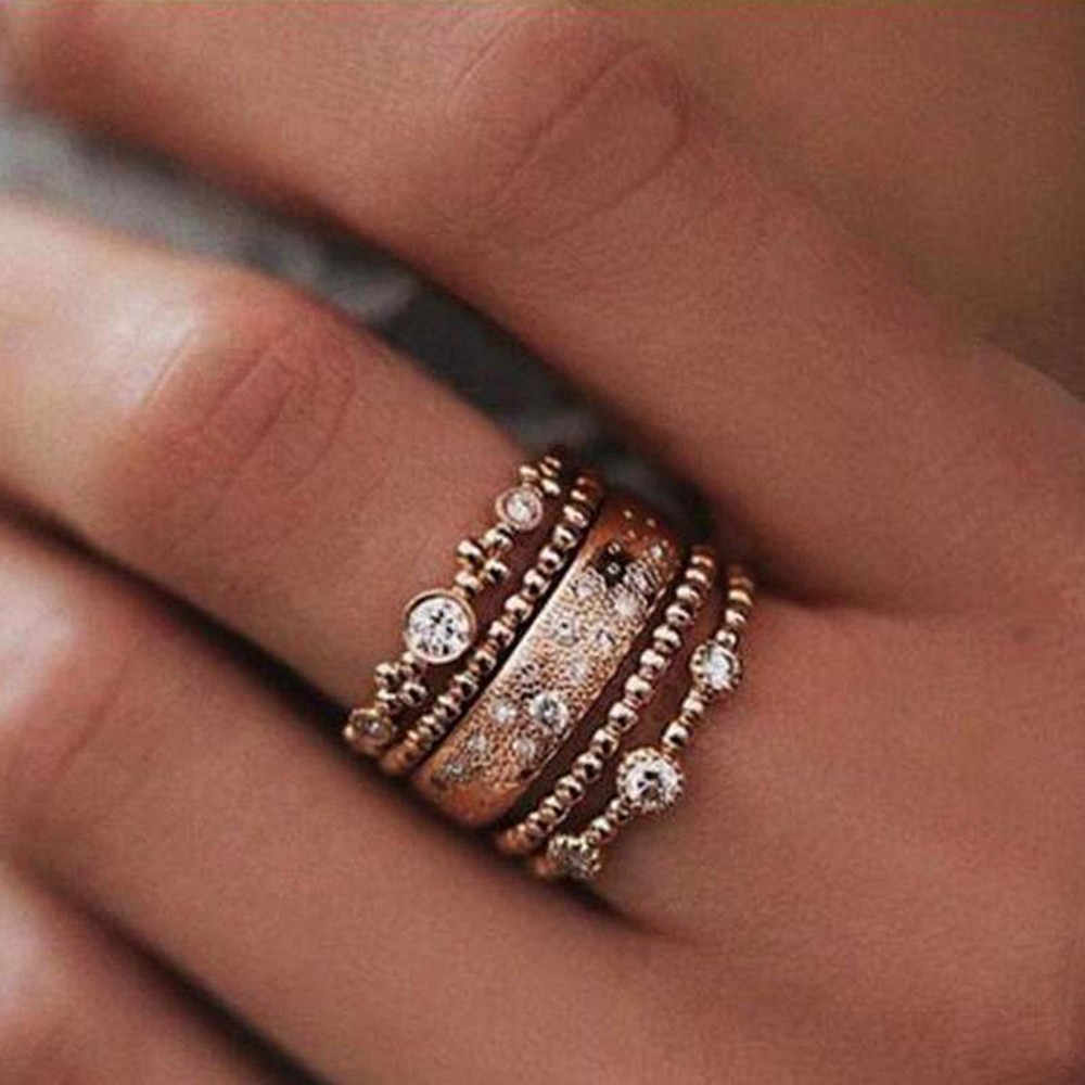5PCS/Set Fashion Women Lady Rose Gold Metal Rhinestone Crystal Elegant Rings Wave Shape Ring Set Jewelry Size 7-10