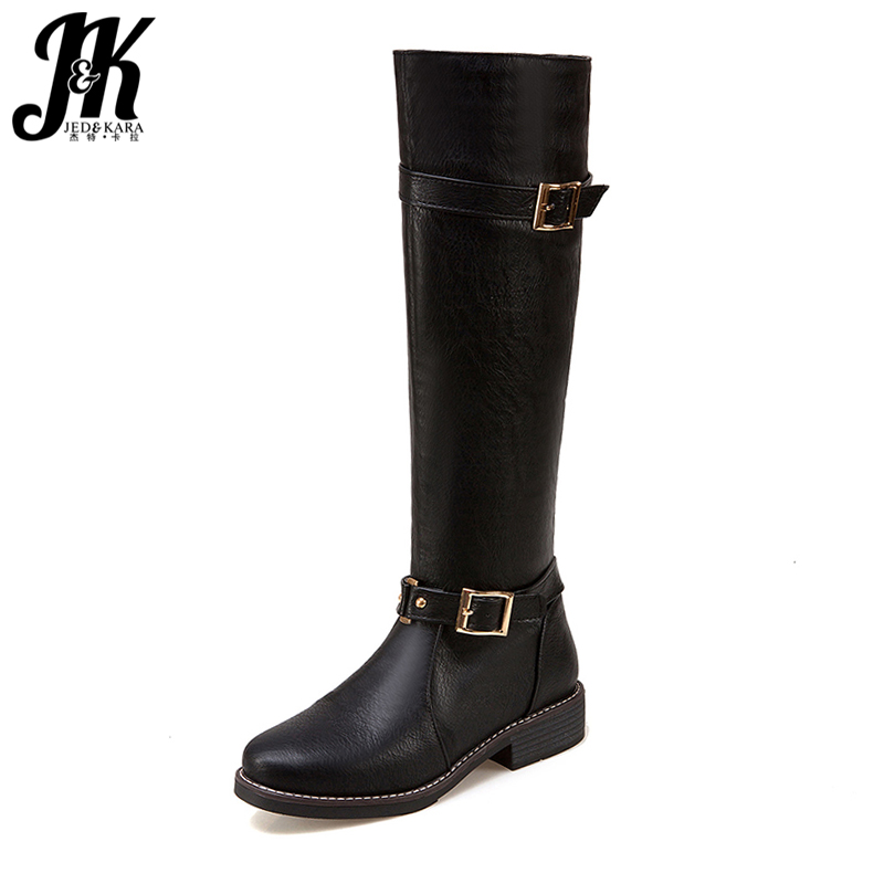 J&K Plus Size 34-44 Brand Women Knee High Boots Fashion Buckle Strap Knight Winter Boots Chunky Heels Zipper Women Shoes evans v dooley j enterprise plus grammar pre intermediate
