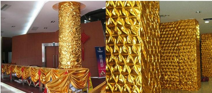 Crinkle Cloth Style Gold Color Decorative Fabrics, Column Packing.Hotel, Family, Public Decoration Material, Golden Color Cloth.