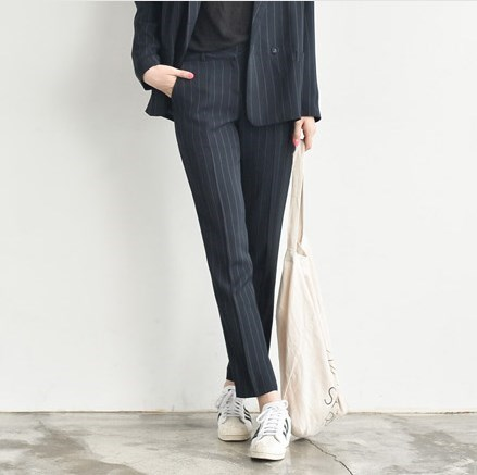 60884ce4bd2 High Quality Spring Summer Ladies Slimming Pants Suits Business Formal Work  Blazer Suit Set For Women Black Striped Trouser Suit-in Pant Suits from  Women s ...