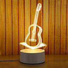 US Plug 3D LED Night Light Castle/Eiffel Tower/Rose/Guitar shape Bed Room Lamp Bulb Decor Table NIght Lamp Sleeping Light(China)