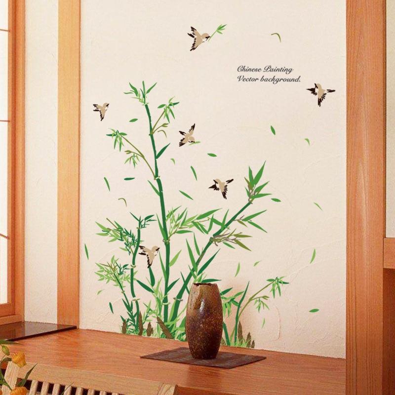 € 6.3 6% de réduction|Style chinois bambou vinyle mur autocollant salon  salle de bains décoration oiseaux verre porte décor maison arbre Stickers  ...
