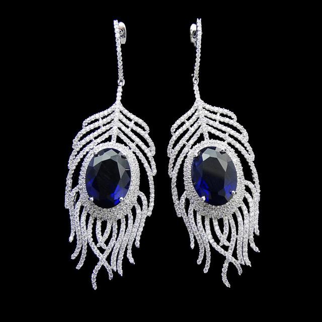 Famosa Marca de Jóias de Casamento Festa Nupcial Azul Cúbicos de Zircônia Brinco de Luxo Grandes Brincos de Penas Para As Mulheres Presente