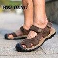 2017 Sandalias de Los Hombres Zapatillas de piel de Vaca Cuero Genuino de Playa Verano Masculinos Zapatos Ocasionales Al Aire Libre Sandalias De Cuero De Gamuza