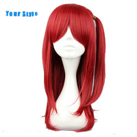 Your Style Medium Harajuku Lolita Party Cosplay Wigs With Ponytails Women Red Synthetic High Temperature Fiber