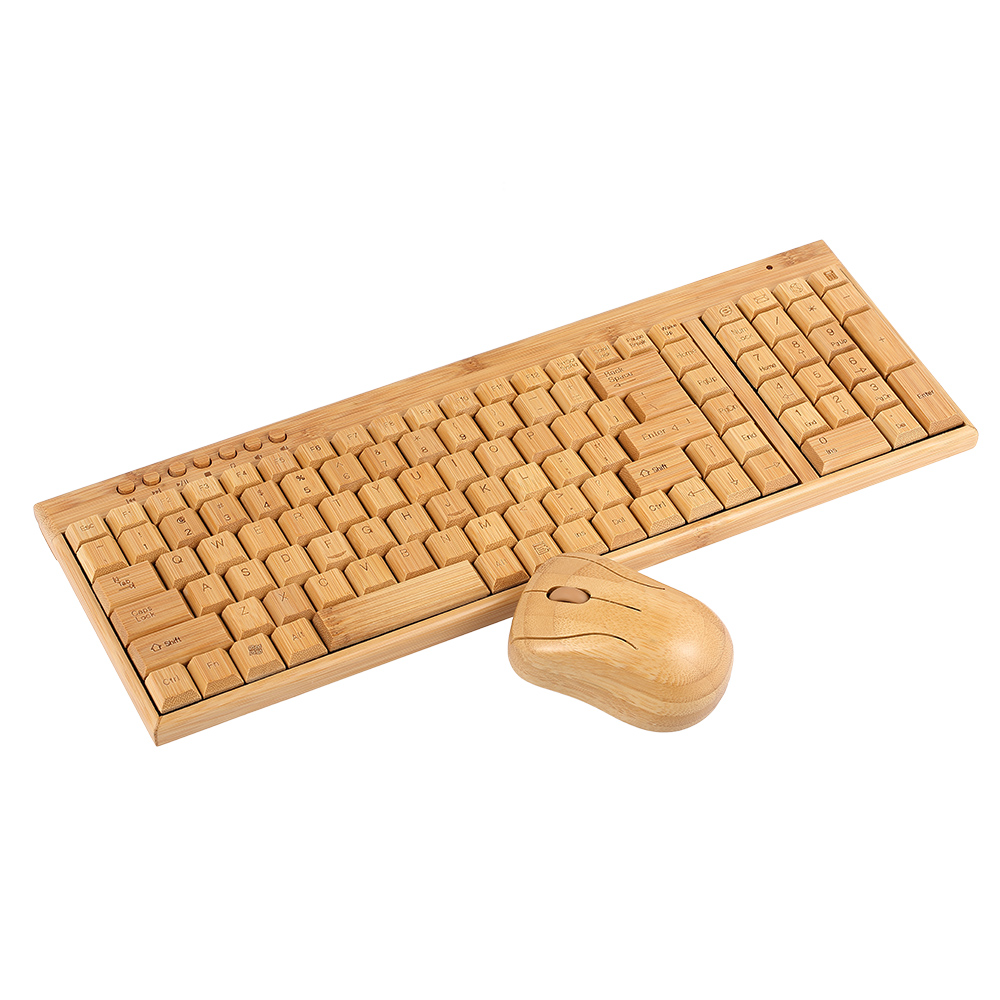 Handcrafted 2.4G Wireless Natural Bamboo Wood PC Keyboard & Mouse Set Computer Keyboard Plug and Play office home 30