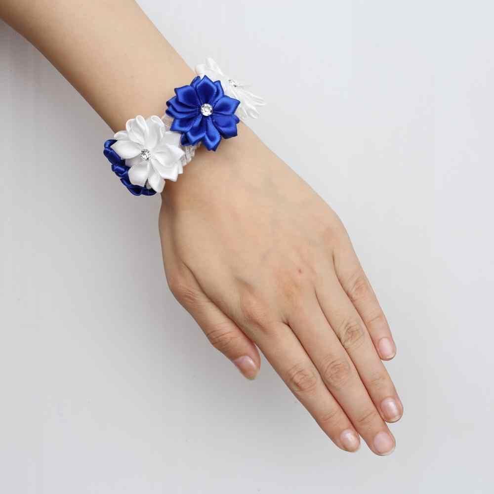 Blue and white ribbon flower