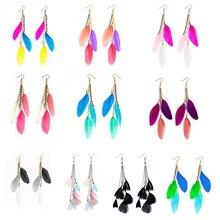 MISANANRYNE Tassel Dangle Long Earrings For Women Leaf Feather Earrings Brincos Bijoux Jewelry Wedding Earrings Bride Jewelry rhinestoned leaf wedding jewelry earrings