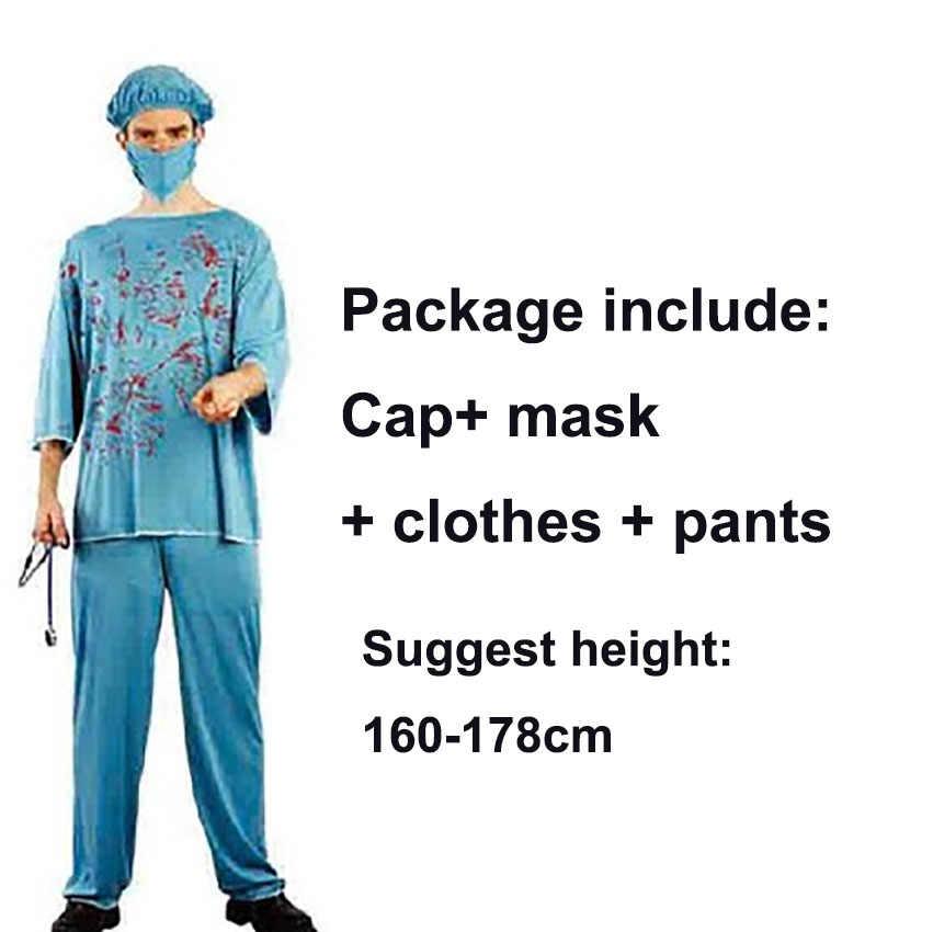 Vestido de Halloween para Mulheres Day of The Dead Uniforme Médico Enfermeira Traje Assustador Sangrento Cirurgia Roupas Homens Horror Carnaval Fantasia