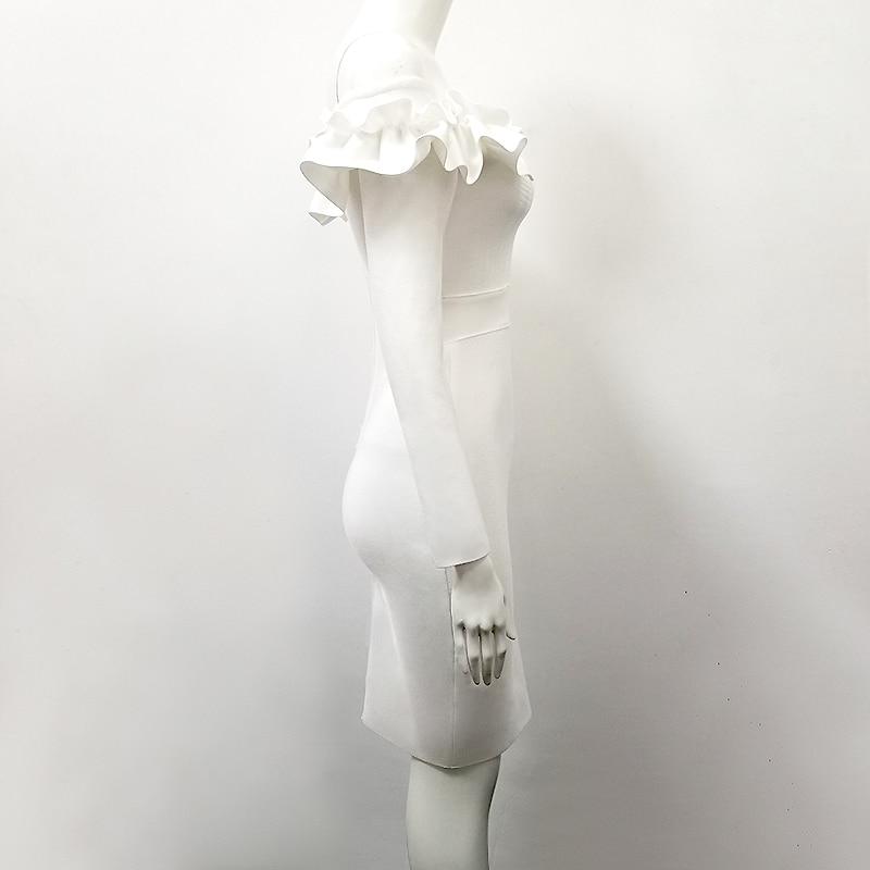 Partie Femmes Sexy Robe Longues Blanc De Robes Discothèque L'épaule Mode Moulante Cou Bandage Outre À Manches Slash qvBfUw71x7