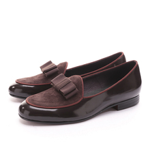 Three color Genuine Leather and Nubuck Leather stitching with Bowtie men handmade luxurious flats Men's banquet classic loafers
