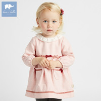 DBM7740 dave bella Princess autumn wool dress baby girl's birthday party long sleeve dress children bows boutique dresses