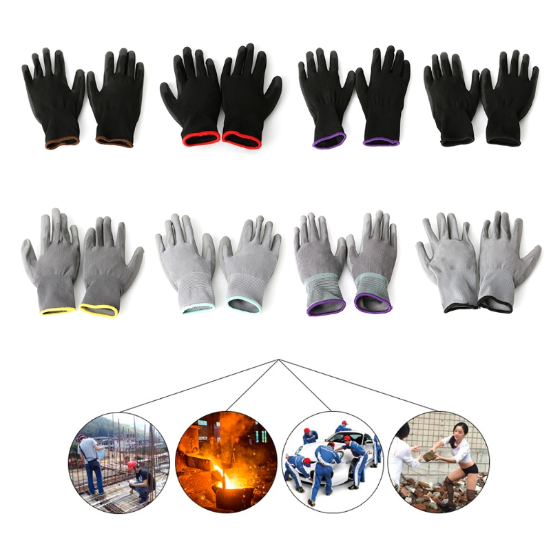 1 Pair Nylon PU Palm Coated Protective Safety <font><b>Work</b></font> <font><b>Gloves</b></font> <font><b>Garden</b></font> Grip Builders image