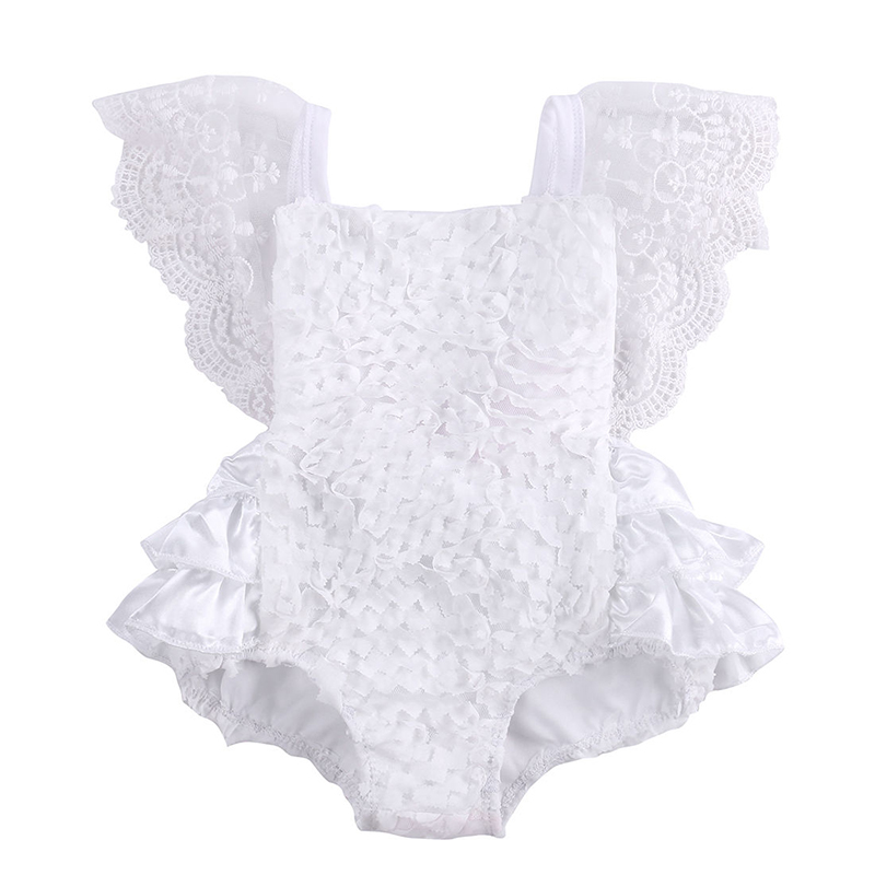 Princess Newborn Baby Girl White Lace Romper Summer Ruffles Sleeve Backless Tutu Skirted Jumpsuit Outfits Sumsuit 0-18M 3pcs set cute newborn baby girl clothes 2017 worth the wait baby bodysuit romper ruffles tutu skirted shorts headband outfits