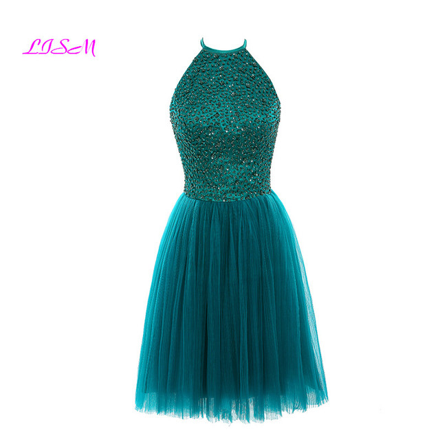 2abc06de93 LISM Halter Beaded Sequins Short Prom Dresses 2018 Robe de festa Knee  Length Open Back Party Formal Gown Tulle Bridesmaid Dress