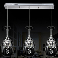 Modern Luxury Red Wine Glass Pendant Chandelier 15W 3 Heads LED Crystal Rectangular Plate 90 260v
